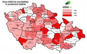 Mapa: Klíšťová encefalitida, % pozitivních klíšťat podle okresů.