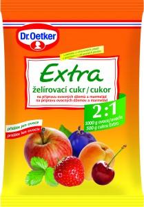 Želírovací cukr Extra Dr.Oetker, ke kterému přidáte 1 kg ovoce. Hotový džem bude obsahovat přibližně 67% ovoce.