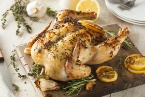 Pečené kuře s citróny a tymiánem.